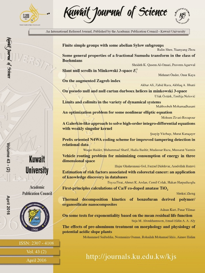 View Vol. 43 No. 2 (2016): Kuwait Journal of Science
