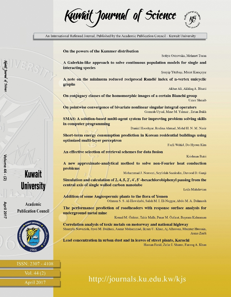 View Vol. 44 No. 2 (2017): Kuwait Journal of Science (KJS)