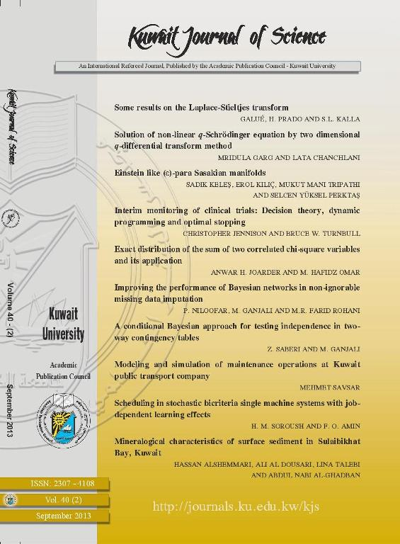 View Vol. 40 No. 2 (2013): Kuwait Journal of Science