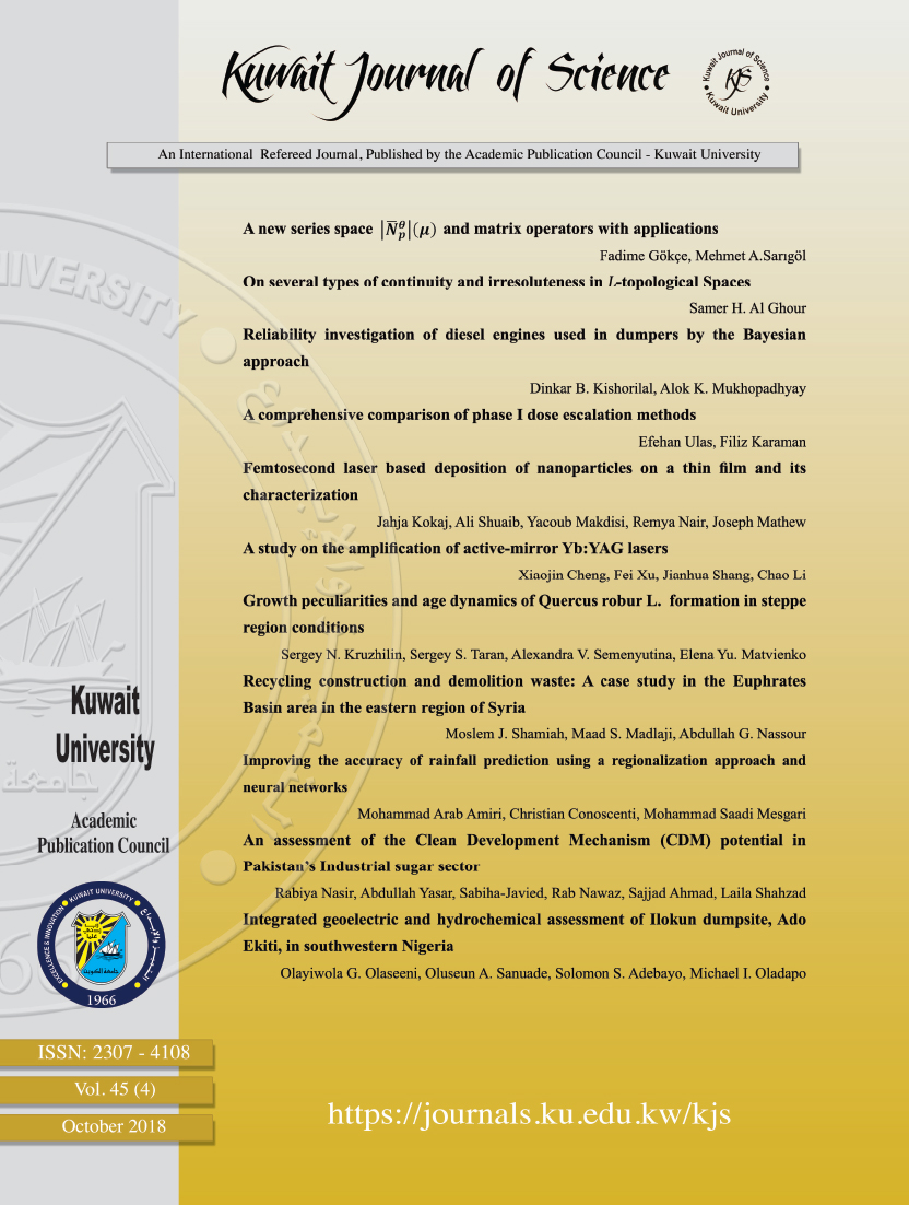 View Vol. 45 No. 4 (2018): Kuwait Journal of Science