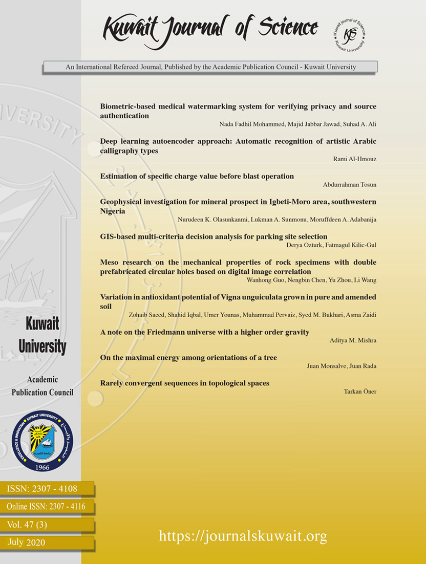 View Vol. 47 No. 3 (2020): Kuwait Journal of Science
