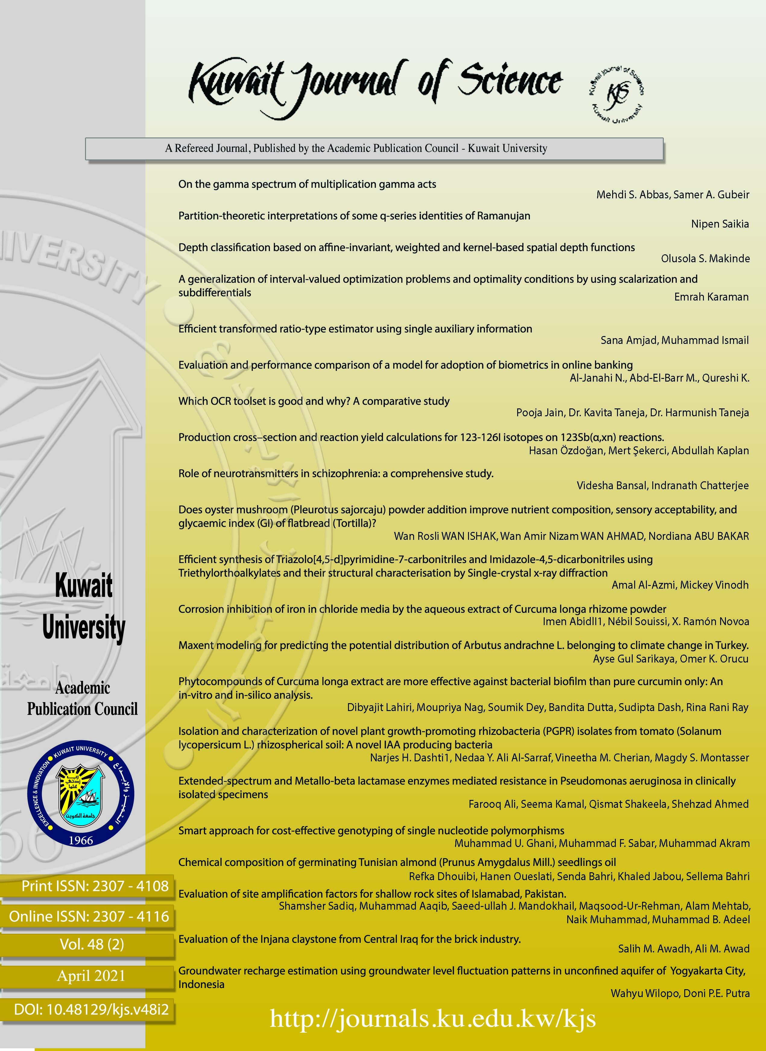View Vol. 48 No. 2 (2021): Kuwait Journal of Science