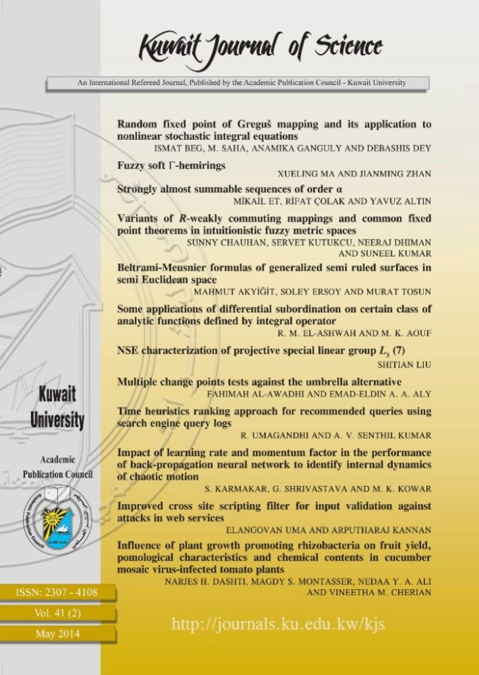 View Vol. 41 No. 2 (2014): Kuwait Journal of Science (KJS)